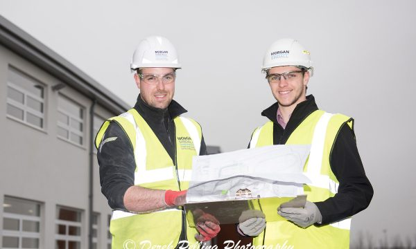 Morgan Sindall's Alex Holmes - pictured at Shenley Brook End School in Milton Keynes with site manager Mark Steward (left of picture)